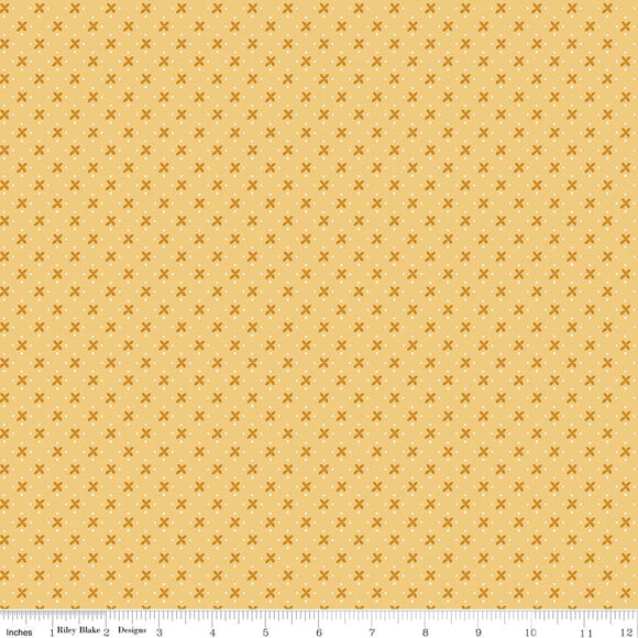 Granny Chic Kisses Yellow for Riley Blake Designs C8512 YELLOW - PRICE PER 1/2 YARD
