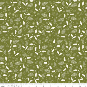 Yuletide Leaves Olive Yardage by My Mind's Eye for RBD C9634 - PRICE PER 1/2 YARD