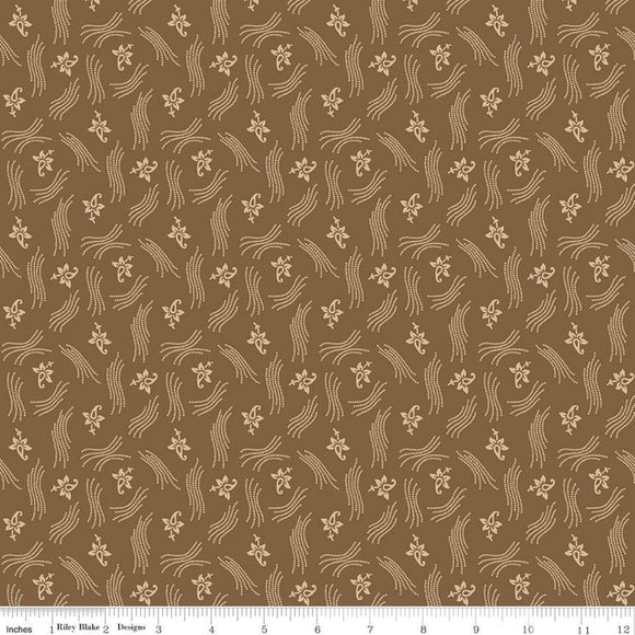 Blessed Beyond Measure Flourish Brown Yardage for Riley Blake Designs C9920 - PRICE PER 1/2 YARD