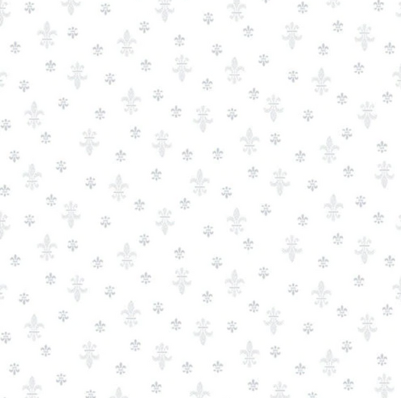Quilters Flour II White on White Fleur de Lis Ydg for Henry Glass 9424-01W - PRICE PER 1/2 YARD