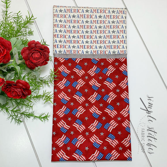 American Flag Red Standard Pillowcase Kit with Free Pattern
