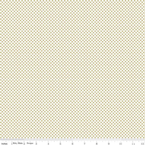 Kisses on White with Gold Kisses Yardage for RBD-SC220 SILVER - PRICE PER 1/2 YARD