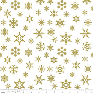 Snowflake Sparkle Gold Yardage by Doodlebug Designs for RBD-SC566 GOLD - PRICE PER 1/2 YARD
