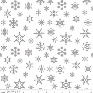 Snowflake Sparkle Silver Yardage by Doodlebug Designs for RBD-SC566 SILVER - PRICE PER 1/2 YARD