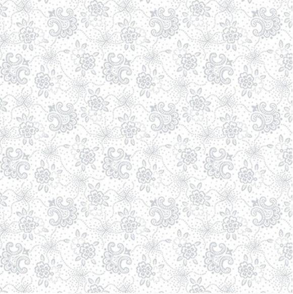 Quilters Flour II White on White Stylized Flower Ydg for Henry Glass 9431-01W - PRICE PER 1/2 YARD