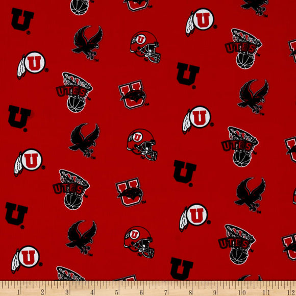 University of Utah All Over Design Yardage by Fabrique Innovations for Riley Blake Designs F069-UTA-020 - PRICE PER 1/2 YARD