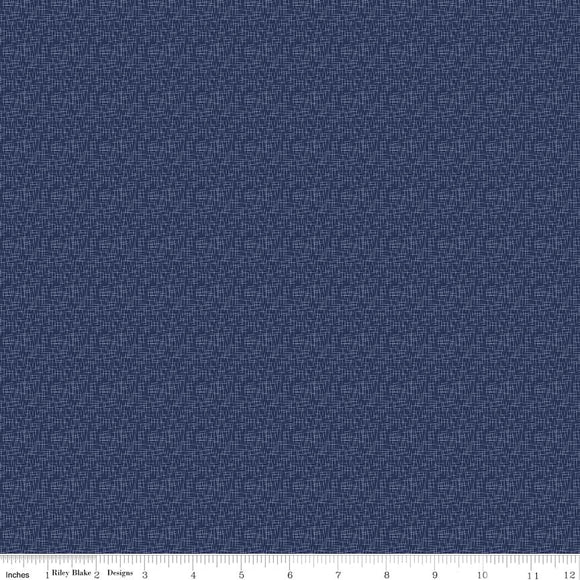Hashtag Small Navy Yardage by RBD C110 - PRICE PER 1/2 YARD