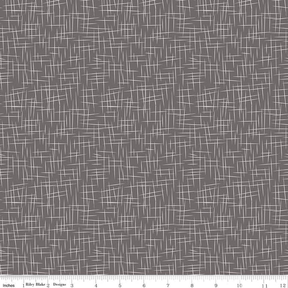 Large Hashtag Charcoal Yardage for Riley Blake Designs C115 - PRICE PER 1/2 YARD