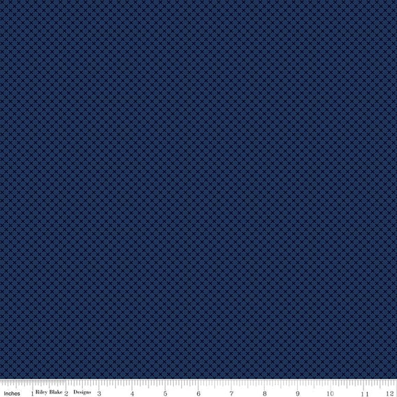 Kisses Tone on Tone Navy Yardage by Doodlebug Designs for Riley Blake Designs-C210 NAVY- PRICE PER 1/2 YARD