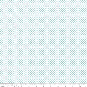 Kisses on White Color Aqua Yardage by Doodlebug Designs for Riley Blake Designs-C220-AQUA- PRICE PER 1/2 YARD