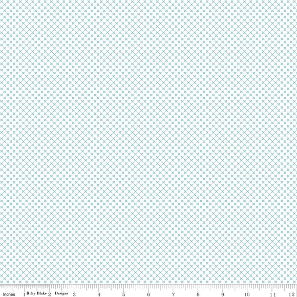 Kisses on White Color Aqua Yardage  for Riley Blake Designs-C220-AQUA- PRICE PER 1/2 YARD