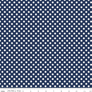 Small Dots Navy Yardage by RBD for Riley Blake Designs C350-21 - PRICE PER 1/2 YARD