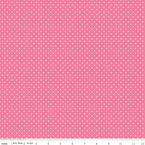 Swiss Dot Hot Pink Yardage by RBD C670-70 - PRICE PER 1/2 YARD
