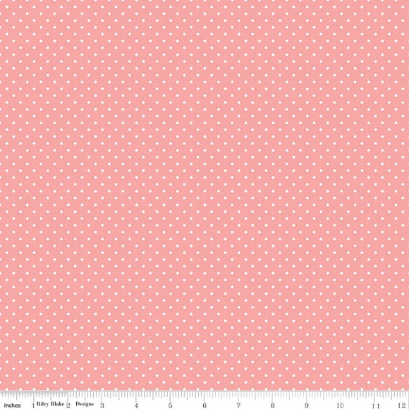 Coral Swiss Dot Yardage by RBD for Riley Blake Designs C670 - PRICE PER 1/2 YARD