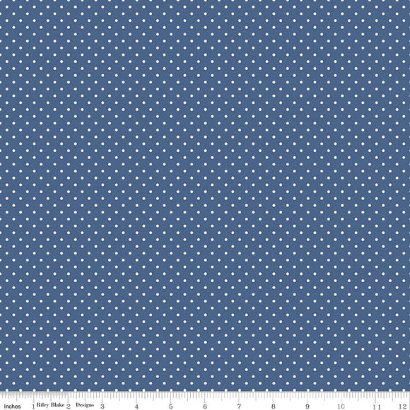 Denim Swiss Dot Yardage by RBD for Riley Blake Designs C670 - PRICE PER 1/2 YARD