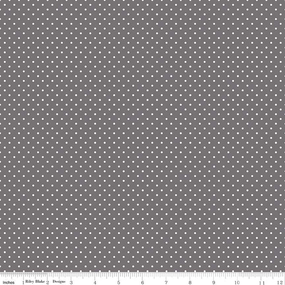 Swiss Dot Steel Yardage by RBD for Riley Blake Designs C670 - PRICE PER 1/2 YARD