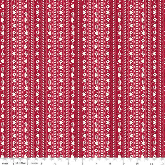 Gretel Stripe Red Yardage for RBD C7835- PRICE PER 1/2 YARD