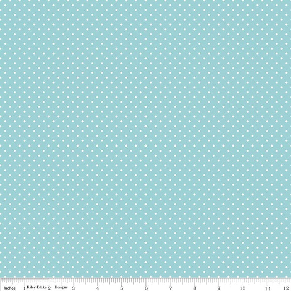 Aqua Swiss Dot Yardage for Riley Blake Designs C670-20 - PRICE PER 1/2 YARD