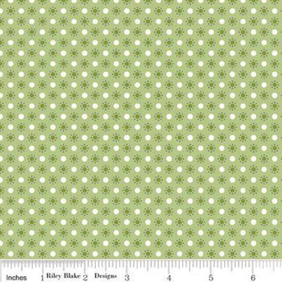 Autumn Love Polka Dot Green Yardage for RBD-C7367 - PRICE PER 1/2 YARD