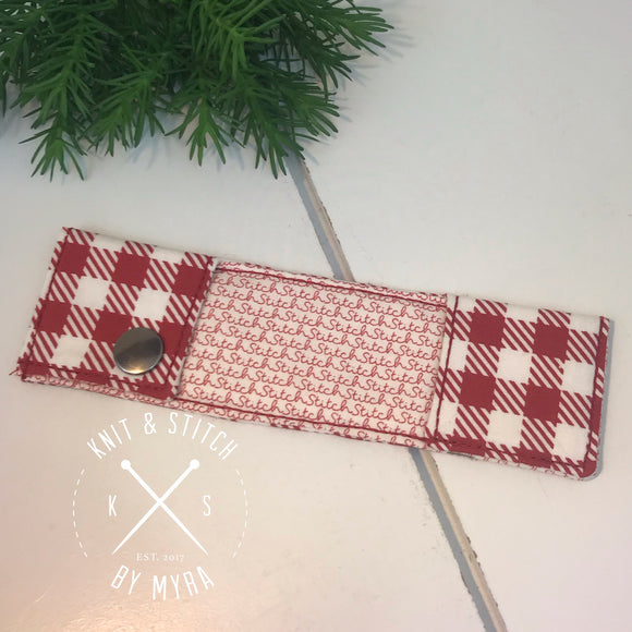 Red Plaid Double Point Knitting Needle Case - Made by Myra