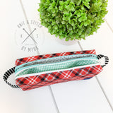 Red Plaid Double Zip Small Pouch - Made by Myra