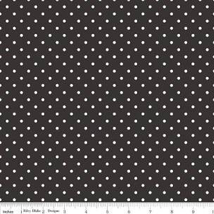 Swiss Dot Black Yardage by RBD for Riley Blake Designs C670-110 - PRICE PER 1/2 YARD
