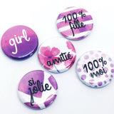 "Lot de badges ""Girl"""