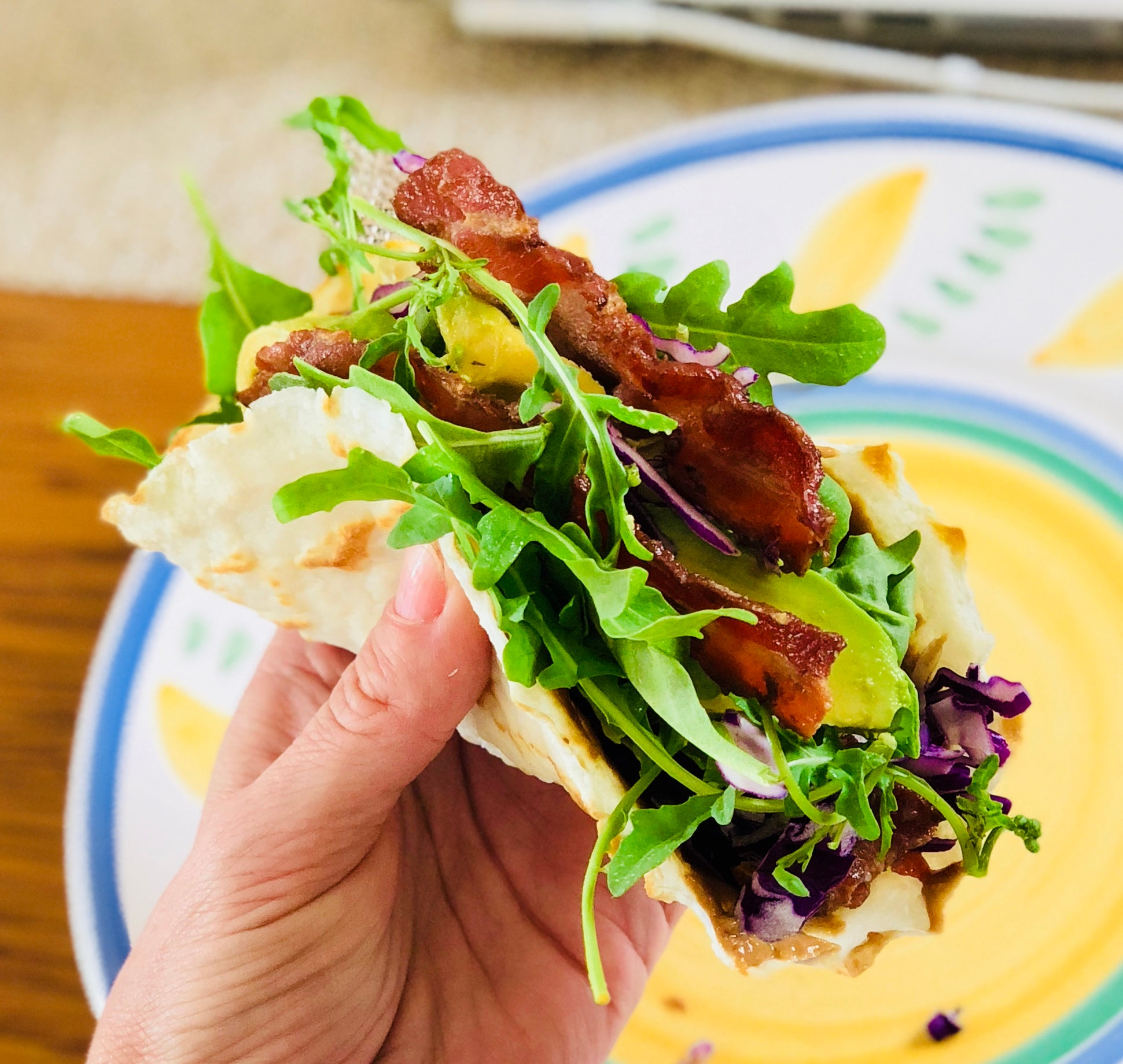 Thai Peanut and Bacon Tacos