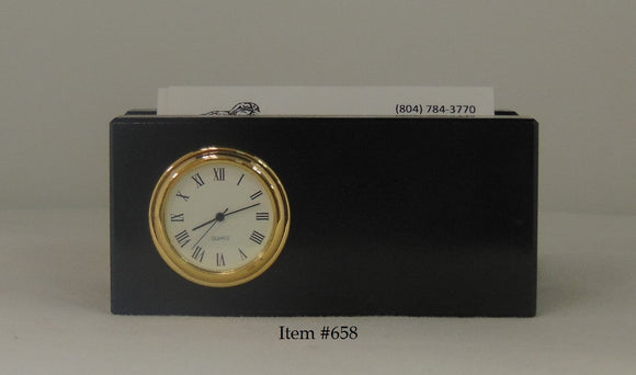 Marble Business Card Holder with Clock Item #658