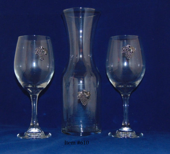 Wine Carafe Set - Item #610 - Wine carafe with two wine glasses