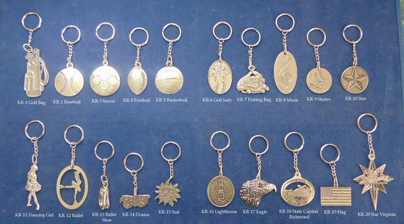Pewter Key Rings Price is for one Key Ring please indicated the one wanted