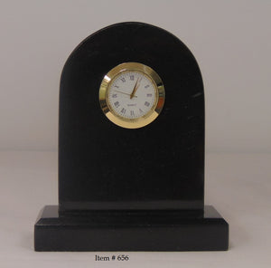 "Marble Tomb Clock Small - Item #656 - 4 1/4"" wide 5"" tall"
