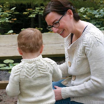 Mom and child in Antler Cardigan by Tin Can Knits