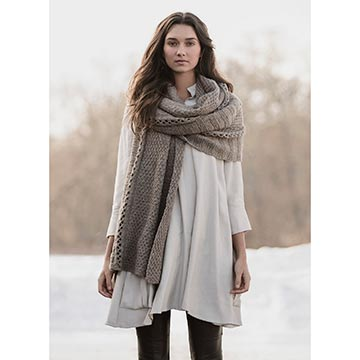 Woman wearing the Endless Wrap from Blue Sky Fibers
