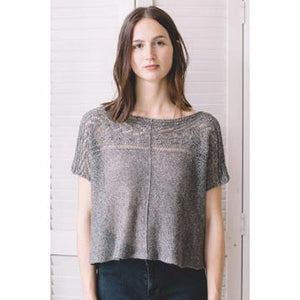 Woman wearing the Bolan sweater tee in Quince and Co. Sparrow