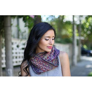 Woman wearing the Bryce Canyon Cowl in Malabrigo Mechita