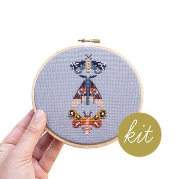 Moths Cross Stitch Kit-The Craftivist Atlanta