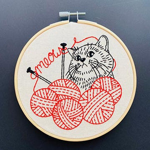 Embroider Kit with a kitten knitting from balls of yarn