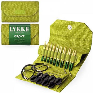 Lykke Grove knitting needle set in 3.5 inch needles with green basketweave pouch