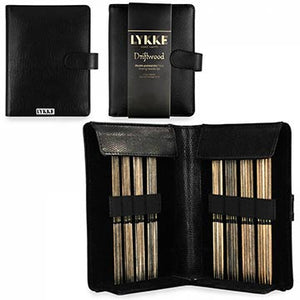 Lykke driftwood double pointed needles in a faux leather pouch