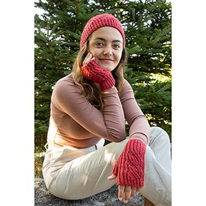 Woman wearing hat and and fingerless mitts