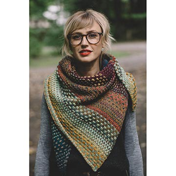 Andrea Mowry wearing the Nightshift Shawl