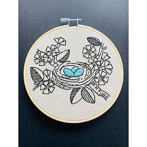 Embroidery of a birds nest with blue eggs