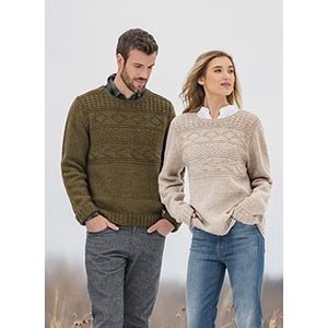 A man and woman wearing the Pemberton Pullover sweater from Blue Sky Fibers