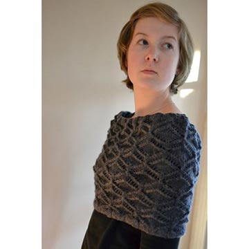 woman wearing the Picardi cowl by Nell Knits