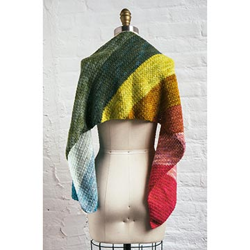 rainbow crochet scarf on mannequin