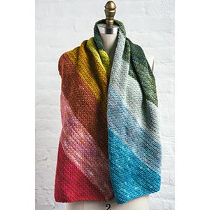 front image of rainbow crochet scarf from Manos del Uruguay
