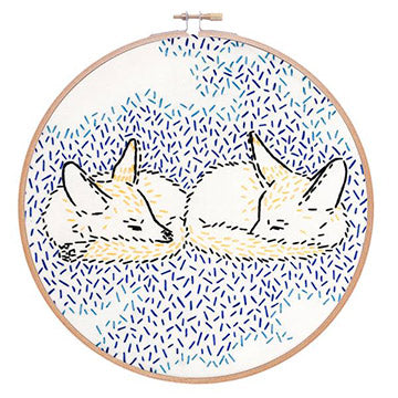 Dreaming Foxes Embroidery Kit-The Craftivist Atlanta
