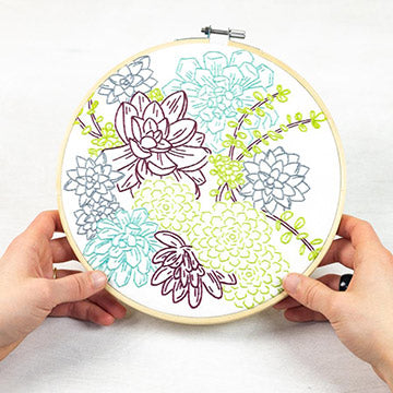 Succulent Garden Embroidery Kit-The Craftivist Atlanta