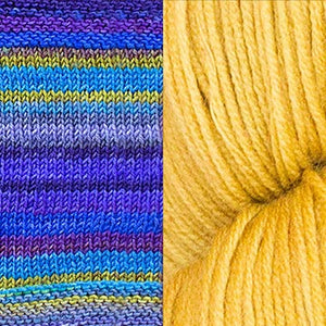 Throwback Cardigan Kit sample colors from Urth Yarns